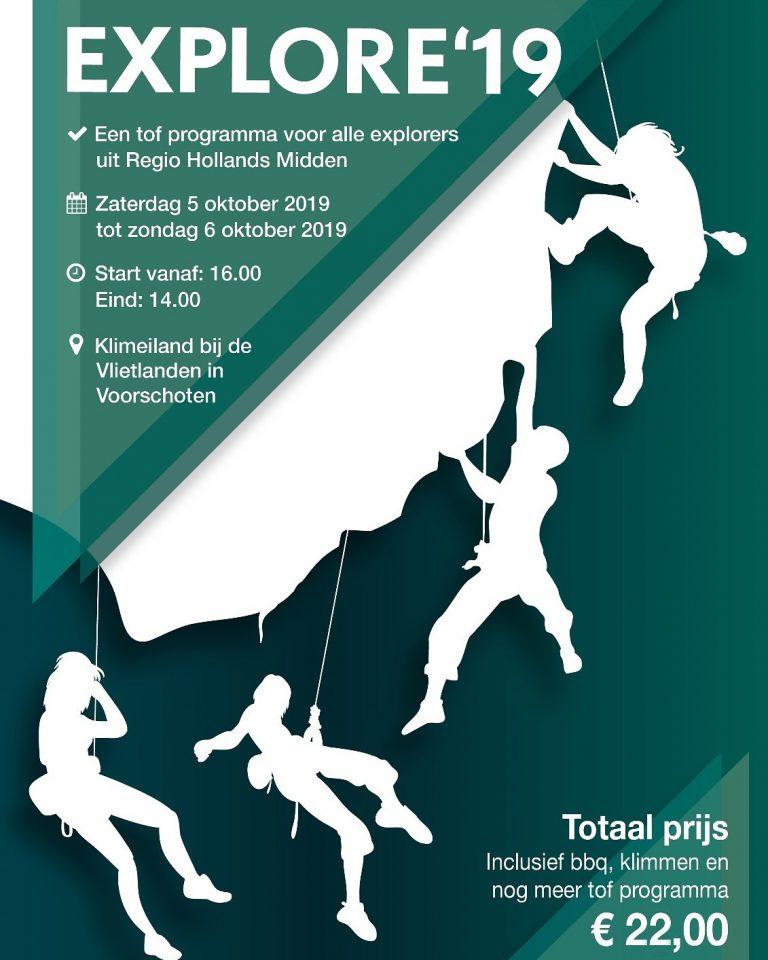 Op 5 en 6 oktober vindt de Explore19 plaats op het Klimeiland bij de Vlietlanden in Voorschoten.